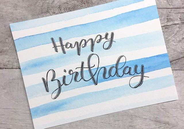 Happy Birthday – Letteringkarte Handmade