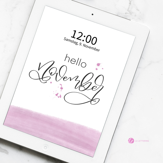 "Lu Lettering Sperrbildschirm ""November"" – Tablet"