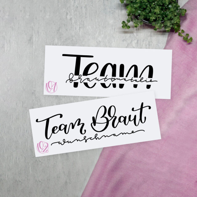 Lu Lettering – Personalisiertes Lettering T-Shirt Team Braut mit Name